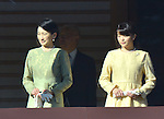 January 2, 2014, Tokyo, Japan - Princess Kiko, left, wife of Prince Akishino, and their daughter, Princess Mako, appear on the Imperial Palace balcony during a New Year's general audience in Tokyo on Thursday, January 2, 2014. Akishino is Emperor Akihito's second son. More than 80,000 well-wishers turned out to celebrate the coming of the new year with the imprerial family who made five appearances on the palace balcony. (Photo by Natsuki Sakai/AFLO) AYF -mis-