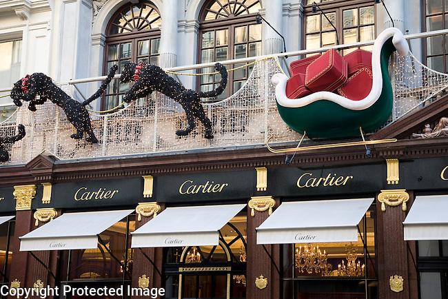 Cartlier Shop at Christmas, New Bond Street, London, UK