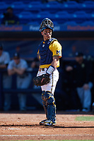 Michigan Wolverines catcher Marcus Chavez (12) during a game against Army West Point on February 17, 2018 at Tradition Field in St. Lucie, Florida.  Army defeated Michigan 4-3.  (Mike Janes/Four Seam Images)