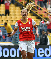 BOGOTA - COLOMBIA - 26-02-2017: Melissa Herrera, jugadora de Independiente Santa Fe, en acción, durante partido por la fecha 2 entre Independiente Santa Fe y Atletico Huila, de la Liga Femenina Aguila 2017, en el estadio Nemesio Camacho El Campin de la ciudad de Bogota. / Melissa Herrera, player of Independiente Santa Fe, in action, during a match of the date 2 between Independiente Santa Fe and Atletico Huila, for the Liga Femenina Aguila 2017 at the Nemesio Camacho El Campin Stadium in Bogota city, Photo: VizzorImage / Luis Ramirez / Staff.