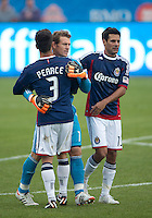 14 April 2012: Chivas USA goalkeeper Dan Kennedy #1 celebrates the win with Chivas USA defender Heath Pearce #3 and Chivas USA defender Ante Jazic #13 at the end of the second half in a game between Chivas USA and Toronto FC at BMO Field in Toronto..Chivas USA won 1-0.