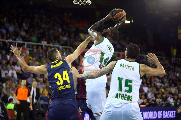 Euroleague Basketball-Regular Season Round 5.<br /> FC Barcelona vs Panathinaikos Athens: 78-69.<br /> Bostjan Nachbar,James Gist &amp;  Esteban Batista.