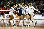 KANSAS CITY, KS - DECEMBER 14: Penn State University celebrates a point while playing the University of Nebraska during the Division I Women's Volleyball Semifinals held at Sprint Center on December 14, 2017 in Kansas City, Missouri. (Photo by Tim Nwachukwu/NCAA Photos via Getty Images)