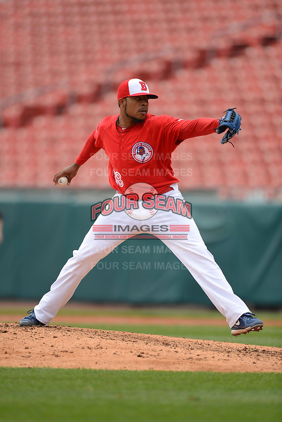 Buffalo Bisons pitcher Jeremy Jeffress #38 during a game against the Norfolk Tides on May 9, 2013 at Coca-Cola Field in Buffalo, New York.  Norfolk defeated Buffalo 7-1.  (Mike Janes/Four Seam Images)