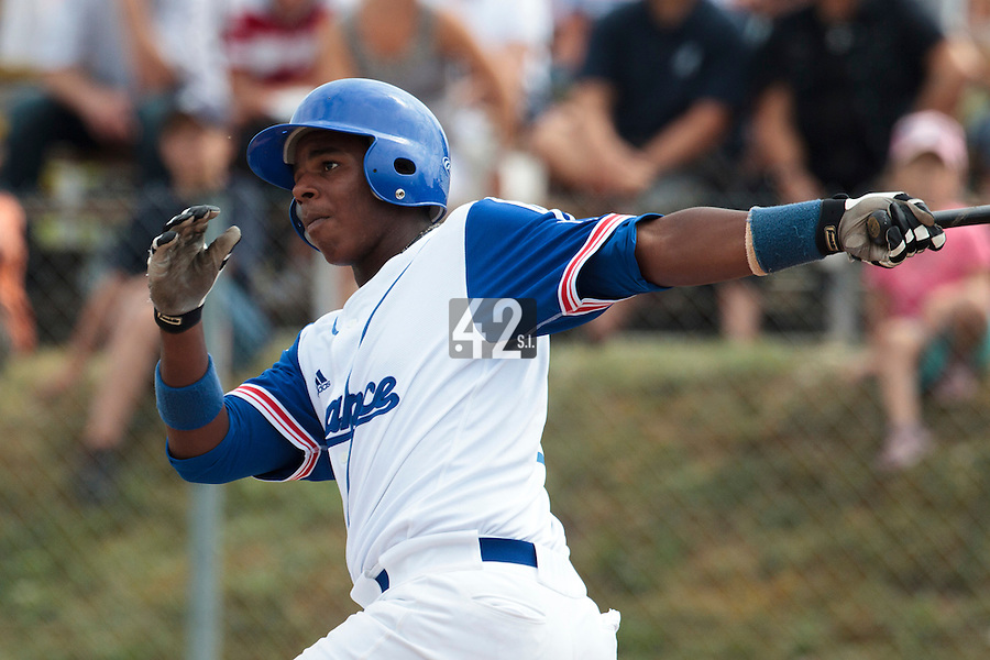 25 july 2010: Omar Williams of Team France hits a home run during France 6-1 victory over Czech Republic, in day 3 of the 2010 European Championship Seniors, in Neuenburg, Germany.