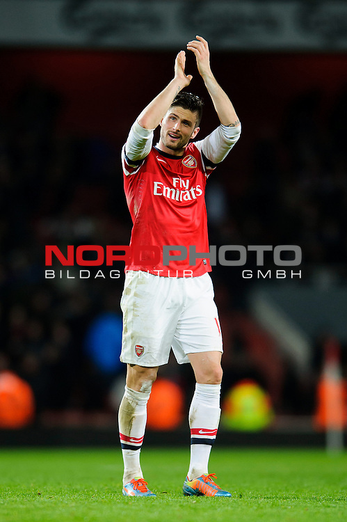 Arsenal Forward Olivier Giroud (FRA)  applauds the supporters after Arsenal win the match 2-0 -  - 18/01/14 - SPORT - FOOTBALL - Emirates Stadium - Arsenal v Fulham - Barclays Premier League.<br /> Foto nph / Meredith<br /> <br /> ***** OUT OF UK *****