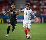 England's Ben Chilwell tussles with Germany's Dominik Kohr during the UEFA Under 21 Semi Final at the Stadion Miejski Tychy in Tychy. Picture date 27th June 2017. Picture credit should read: David Klein/Sportimage
