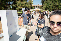 Issac Salvatierra, Cancer Genetics, Inc.<br /> 2018 InternLA student participants share their poster presentations about their summer experiences working as interns in Los Angeles. Summer Experience Expo, Sept. 13, 2018 in the Academic Quad. Hosted by Career Services.<br /> (Photo by Marc Campos, Occidental College Photographer)