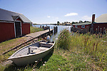 Boat on Shore in Sunny Karlby Village Harbor on the Island of Kökar