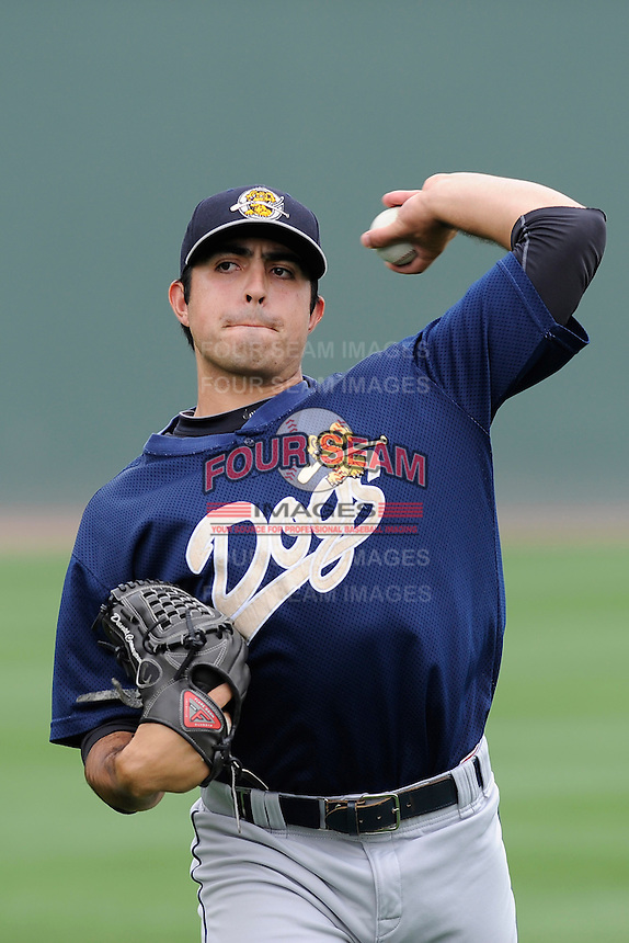 Pitcher Daniel Camarena (16) of the Charleston RiverDogs before a game against the Greenville Drive on Sunday, May 19, 2013, at Fluor Field at the West End in Greenville, South Carolina. Charleston won, 9-7. (Tom Priddy/Four Seam Images)