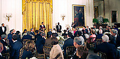 Washington, DC - March 4, 2009 -- United States President Barack Obama makes remarks to guests at a dinner for Congressional  Committee chairmen and ranking members in the East Room of the White House on Wednesday, March 4, 2009. .Credit: Dennis Brack - Pool via CNP