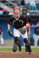 Batavia Muckdogs catcher Chad Wallach (55) during a game against the Vermont Lake Monsters on July 12, 2013 at Dwyer Stadium in Batavia, New York.  Batavia defeated Vermont 4-2.  (Mike Janes/Four Seam Images)