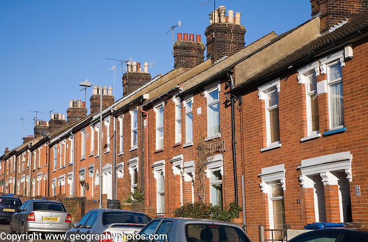 Nineteenth century red brick terraced housing, Ipswich, Suffolk, England