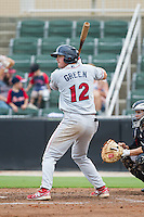 Zach Green (12) of the Lakewood BlueClaws at bat against the Kannapolis Intimidators at CMC-NorthEast Stadium on July 20, 2014 in Kannapolis, North Carolina.  The Intimidators defeated the BlueClaws 7-6. (Brian Westerholt/Four Seam Images)