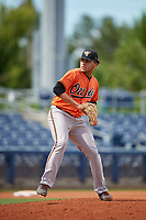 Baltimore Orioles pitcher Jayvien Sandridge (57) delivers a pitch during a Florida Instructional League game against the Tampa Bay Rays on October 1, 2018 at the Charlotte Sports Park in Port Charlotte, Florida.  (Mike Janes/Four Seam Images)