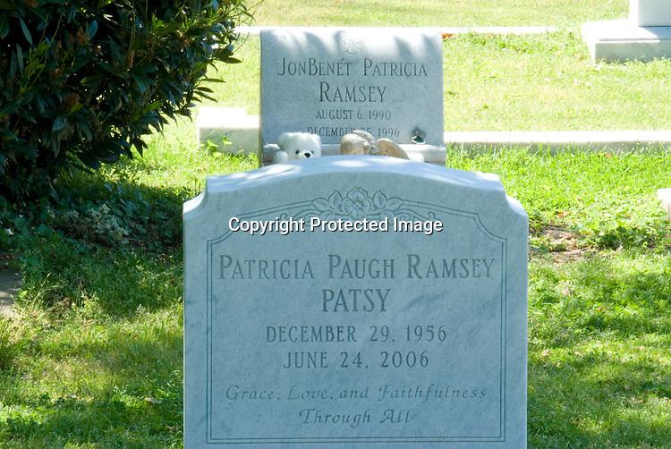 "Jon Benet Ramsey and, Patricia ""Patsy"" Ramsey's, gravesites in Marietta, Georgia taken on April 29, 2007. Jon Benet died December 26, 1996. Patsy died June 24, 2006. Gravesites located in Saint James Episcopal Cemetery Marietta, Georgia."