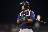 Pensacola Blue Wahoos second baseman Ryan Wright (6) walks to the plate during a game against the Mississippi Braves on May 28, 2015 at Trustmark Park in Pearl, Mississippi.  Mississippi  defeated Pensacola 4-2.  (Mike Janes/Four Seam Images)