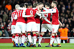 Aaron Ramsey of Arsenal celebrates scoring the opening goal during the UEFA Europa League Quarter-Final 1st leg match at the Emirates Stadium, London. Picture date 5th April 2018. Picture credit should read: Charlie Forgham-Bailey/Sportimage