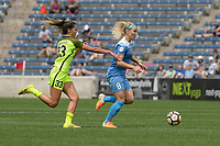 Bridgeview, IL - Sunday June 04, 2017: Katlyn Johnson, Julie Johnston Ertz during a regular season National Women's Soccer League (NWSL) match between the Chicago Red Stars and the Seattle Reign FC at Toyota Park. The Red Stars won 1-0.