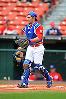 Buffalo Bisons catcher Mike Nickeas #11 during a game against the Norfolk Tides on May 9, 2013 at Coca-Cola Field in Buffalo, New York.  Norfolk defeated Buffalo 7-1.  (Mike Janes/Four Seam Images)