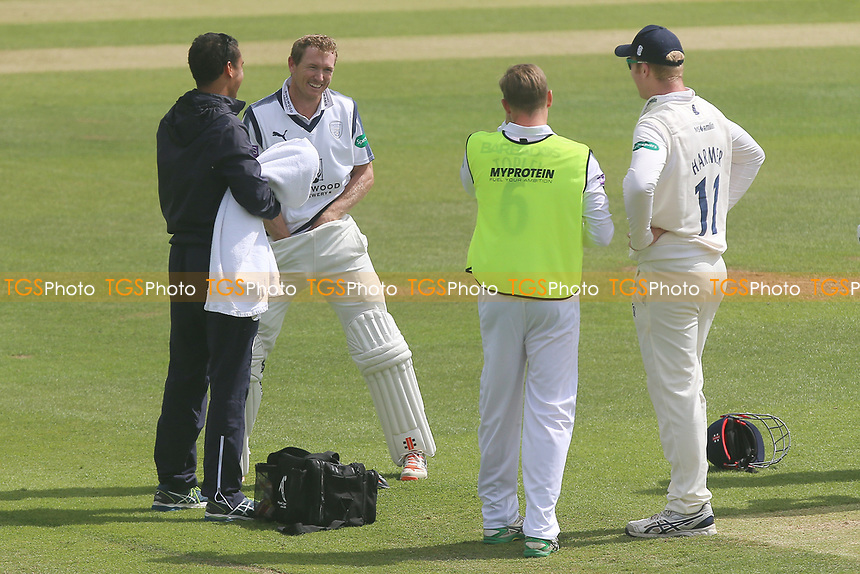Injury concern for George Bailey of Hampshire after he takes a low blow from a Jamie Porter delivery during Essex CCC vs Hampshire CCC, Specsavers County Championship Division 1 Cricket at The Cloudfm County Ground on 21st May 2017