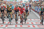 Nacer Bouhanni (FRA) Cofidis outsprints Danny Van Poppel (NED) LottoNL-Jumbo and Elia Viviani (ITA) Quick-Step Floors to win Stage 6 of the La Vuelta 2018, running 150.7km from Hu&eacute;rcal-Overa to San Javier, Mar Menor, Sierra de la Alfaguara, Andalucia, Spain. 30th August 2018.<br /> Picture: Colin Flockton | Cyclefile<br /> <br /> <br /> All photos usage must carry mandatory copyright credit (&copy; Cyclefile | Colin Flockton)