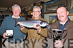 Wexford man Diarmuid Devereux landed the first Salmon of the year from Lough Currane at 9:45 on Tuesday morning last making it the first Kerry Salmon of the year.  Diarmuid pictured centre with his 8lb catch received the Paddy Carey Memorial Cup from Gillie Neil O'Shea(nephew of Paddy Carey) for the first Salmon of the year and he also received a gold watch from Damian Duff of The Waterville Inn for the first visitor of the year to catch a salmon in Lough Currane.