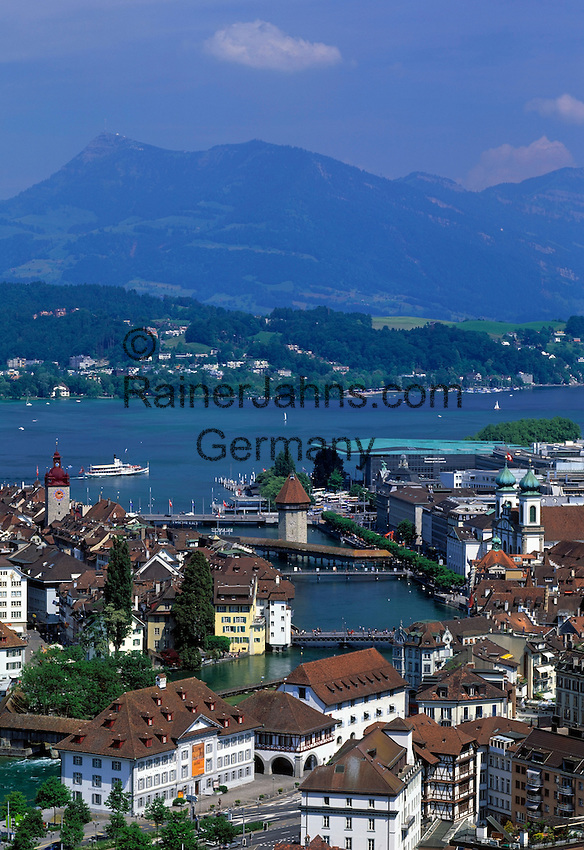 Switzerland, Canton Lucerne, City Lucerne: at river Reuss, with Townhall, Jesuit Church, Chapel Bridge with Water Tower