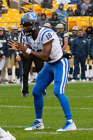 Duke quarterback Quentin Harris. The Pitt Panthers football team defeated the Duke Blue Devils 54-45 on November 10, 2018 at Heinz Field, Pittsburgh, Pennsylvania.