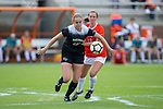 Claudia Day (18) of the Wake Forest Demon Deacons battles for the ball with Jeni Erickson (18) of the Clemson Tigers during first half action at Riggs Field on October 22 2017 in Clemson, South Carolina.  The Tigers defeated the Demon Deacons 2-1. (Brian Westerholt/Sports On Film)