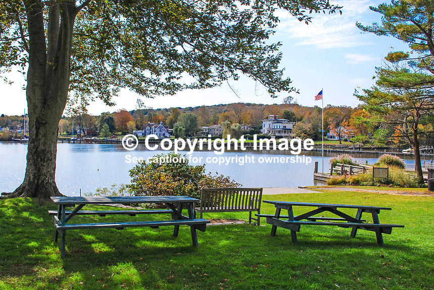 Essex Village, Connecticut, USA, small municipal park, fronts the main street and Middle Cove, an inlet of the Connecticut River. Many of the properties have their own jetties. 201110185310..Copyright Image from Victor Patterson, 54 Dorchester Park, Belfast, United Kingdom, UK...For my Terms and Conditions of Use go to http://www.victorpatterson.com/Victor_Patterson/Terms_%26_Conditions.html