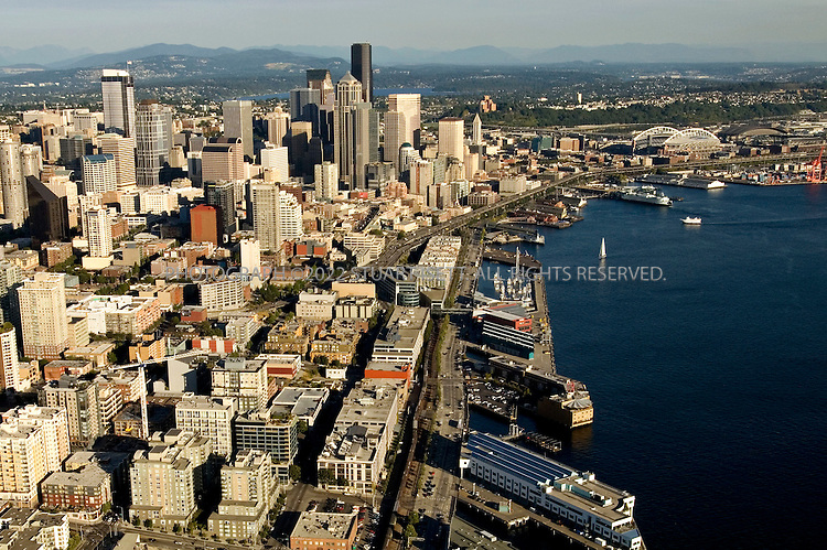 8/28/2006--Seattle, WA, USA..Seattle's waterfront on Puget Sound as seen from sea plane landing in Lake Union  from  the San Juan Islands...Photograph By Stuart Isett.All photographs ©2006 Stuart Isett.All rights reserved.