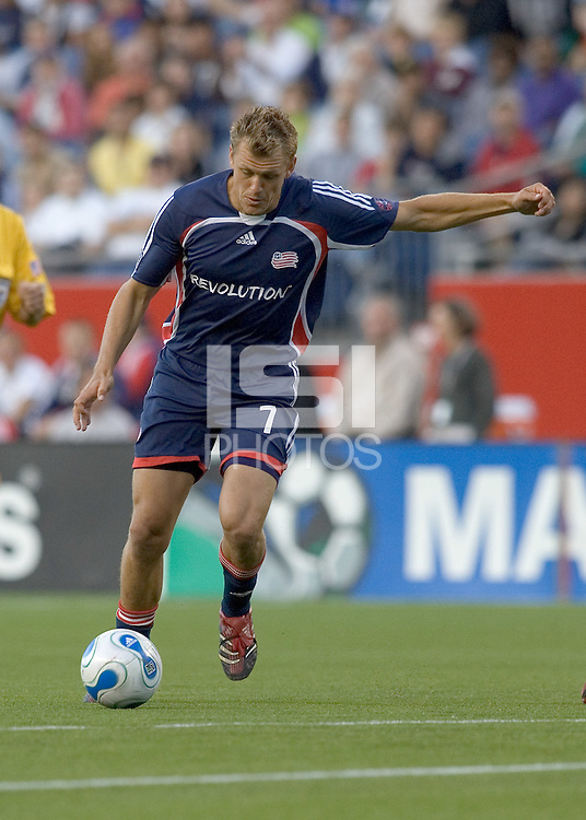 Adam Cristman (Revolution, blue) winds up for a shot on goal. New England Revolution defeated Toronto FC, 3-0, at Gillette Stadium on June 23, 2007.