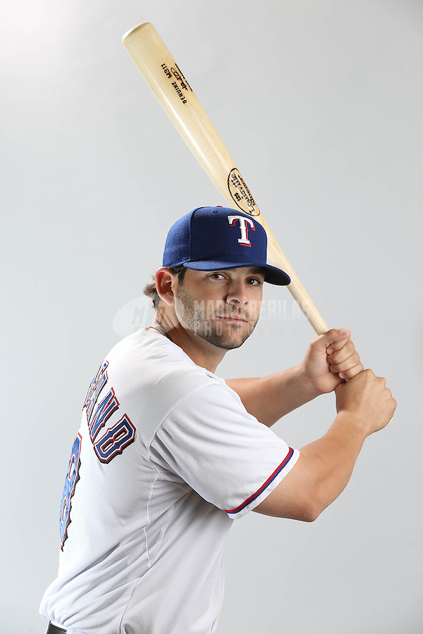 Feb. 20, 2013; Surprise, AZ, USA: Texas Rangers first baseman Mitch Moreland poses for a portrait during photo day at Surprise Stadium. Mandatory Credit: Mark J. Rebilas-