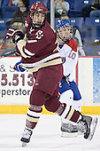 Brian Boyle, Elias Godoy - The Boston College Eagles defeated the University of Massachusetts-Lowell River Hawks 4-3 in overtime on Saturday, January 28, 2006, at the Paul E. Tsongas Arena in Lowell, Massachusetts.