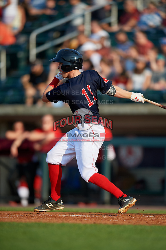 Lowell Spinners second baseman Grant Williams (11) follows through on a swing during a game against the Vermont Lake Monsters on August 25, 2018 at Edward A. LeLacheur Park in Lowell, Massachusetts.  Vermont defeated Lowell 4-3.  (Mike Janes/Four Seam Images)