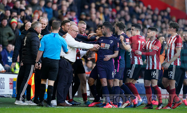 Chris Wilder manager of Sheffield Utd has a chat with Andrew Surman of Bournemouth during the Premier League match at Bramall Lane, Sheffield. Picture date: 9th February 2020. Picture credit should read: Simon Bellis/Sportimage