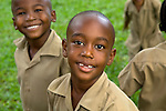 School kids playing in the Botanical Gardens in Kingston, Jamaica
