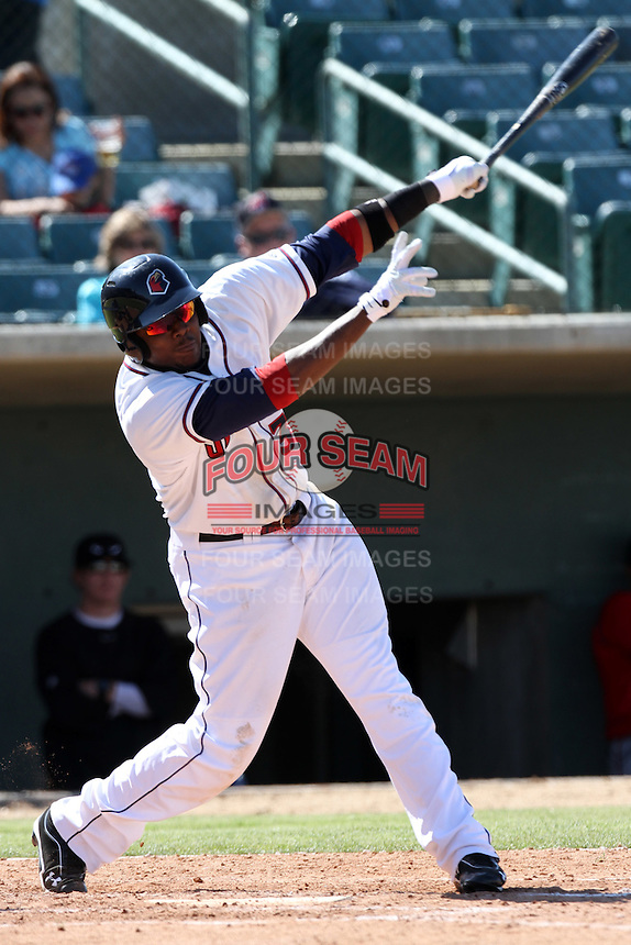 Telvin Nash #32 of the Lancaster JetHawks bats against the Lake Elsinore Storm at Clear Channel Stadium on April 15, 2012 in Lancaster,California. Lake Elsinore defeated Lancaster 7-5.(Larry Goren/Four Seam Images)