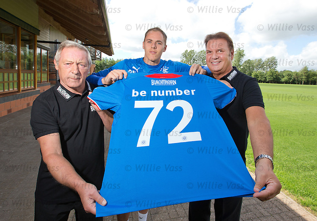 Willie Johnston and Derek Johnstone in Bar 72 promo with keeper Scott Gallacher