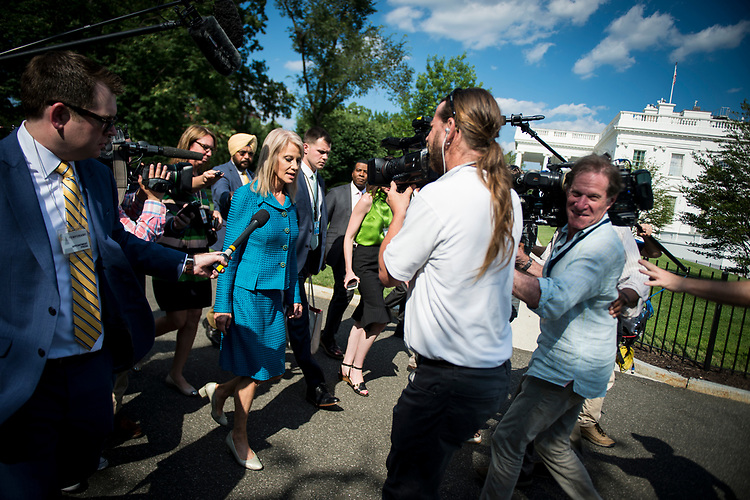 UNITED STATES – June 29: Kellyanne Conway speaks to the press outside of the White House on the North Lawn Friday June 29, 2018.  (Photo By Sarah Silbiger/CQ Roll Call)
