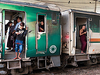 Life at the Yangon Railway Station, Yangon, Myanmar, Burma Everybody is using cell phones now,