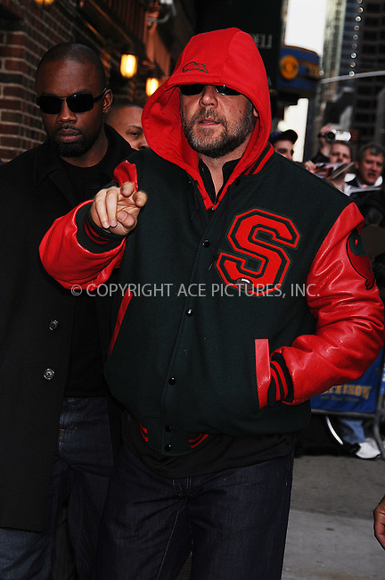 WWW.ACEPIXS.COM . . . . .  ....April 13 2009, New York City....Actor Russell Crowe  made an appearance at the 'Late Show with David Letterman' on April 13 2009 in New York City....Please byline: AJ Sokalner - ACEPIXS.COM..... *** ***..Ace Pictures, Inc:  ..tel: (212) 243 8787..e-mail: info@acepixs.com..web: http://www.acepixs.com