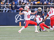 Annapolis, MD - November 11, 2017: Southern Methodist Mustangs wide receiver Trey Quinn (18) throws a pass during the game between SMU and Navy at  Navy-Marine Corps Memorial Stadium in Annapolis, MD.   (Photo by Elliott Brown/Media Images International)