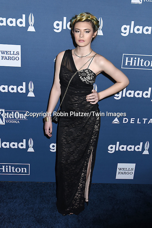 Nicole Maines attends the 27th Annual GLAAD Media Awards on May 14, 2016 at the Waldorf Astoria Hotel in New York City, New York, USA.<br /> <br /> photo by Robin Platzer/Twin Images<br />  <br /> phone number 212-935-0770