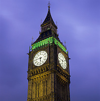 United Kingdom, England, London: Big Ben at dusk.