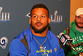 January 29th 2019, Atlanta, Georgia, USA;  Los Angeles Rams defensive end Aaron Donald (99) is interviewed during the Super Bowl LIII Los Angeles Rams press conference at the Marriott Atlanta Buckhead on January 29, 2019 in Atlanta, GA.
