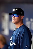 Lakeland Flying Tigers pitcher Austin Sodders (45) in the dugout during a game against the Tampa Tarpons on April 8, 2018 at George M. Steinbrenner Field in Tampa, Florida.  Lakeland defeated Tampa 3-1.  (Mike Janes/Four Seam Images)