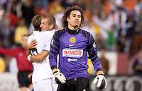 Memo Ochoa disappointed as Sergio Canales (far left) and Karim Benzema (right) celebrate the goal. Real Madrid defeated Club America 3-2 at Candlestick Park in San Francisco, California on August 4th, 2010.