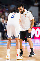 Real Madrid's player Rudy Fernandez injured during match of Liga Endesa at Barclaycard Center in Madrid. September 30, Spain. 2016. (ALTERPHOTOS/BorjaB.Hojas) /NORTEPHOTO.COM
